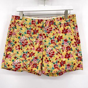 J. Crew Yellow Basketweave Floral Shorts 5 Inch